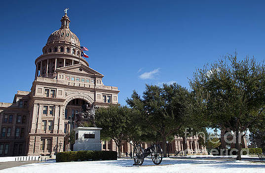 Herronstock Prints - Beautiful Austin, Texas snow storm covers the Texas State Capitol grounds