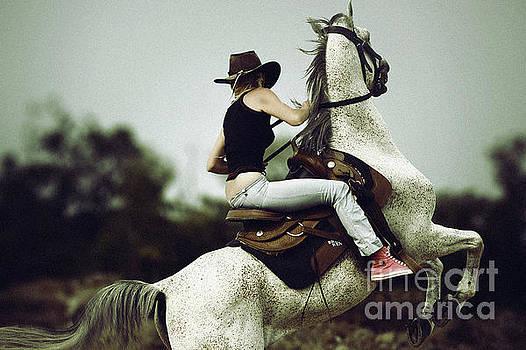 Beautiful girl ridingwhite horse by Dimitar Hristov