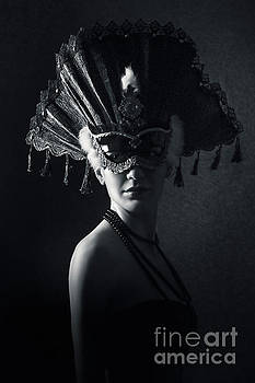Dimitar Hristov - Beautiful Girl With Venetian Carnival Mask in Black and White