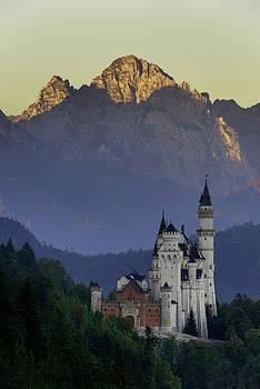 Beautiful morning view of the Neuschwanstein castle, Bavarian Alps, Bavaria, Germany. Typical alpine scenery. by Marek Kijevsky