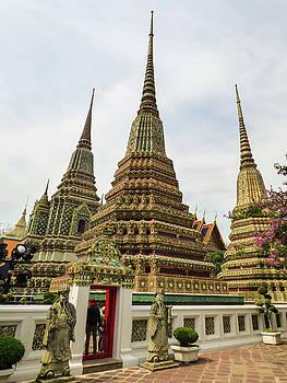 Beautiful stupas at Wat Pho Temple by Helissa Grundemann