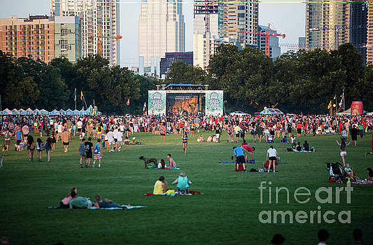 Herronstock Prints - Beautiful sunset falls on downtown Austins Blues on the Green summer concert series in Zilker Park