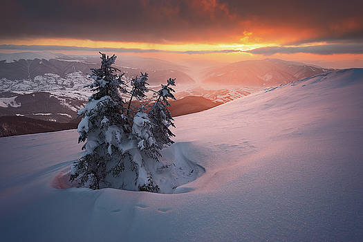 Beautiful sunset in winter Carpathians by Sergey Ryzhkov