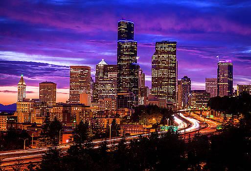 Beautiful sunset over Seattle skyline by Matt Shiffler