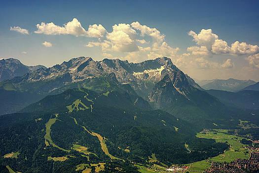 Beautiful view at highest mountain peak Zugspitze and Alpspix with Garmisch Partenkirchen, Bavaria, Germany. by Marek Kijevsky