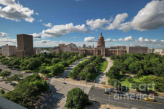 Herronstock Prints - Beautiful wide shot view of the State of Texas Capitol grounds south west-view including the Westgate Tower