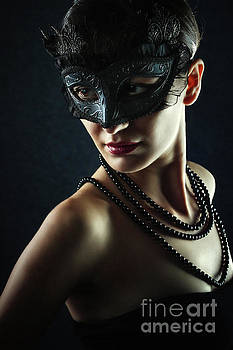 Dimitar Hristov - Beautiful Woman Wearing Venetian Carnival Mask