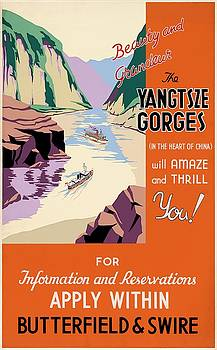 Beauty and grandeur the Yangtze gorges, travel poster, 1934 by Vintage Printery