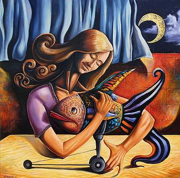 Beauty and the fish having an unconditional agreement under the yellow moon by Darwin Leon
