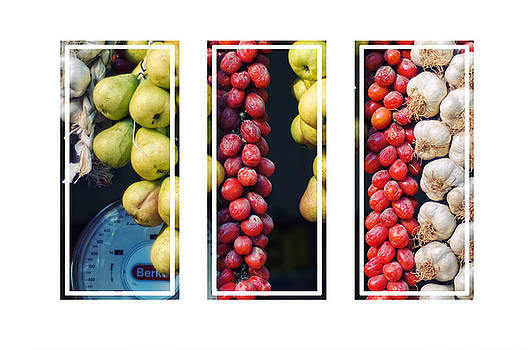 Silvia Ganora - Beauty in tomatoes garlic and pears triptych