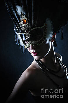 Dimitar Hristov - Beauty model wearing venetian masquerade carnival mask