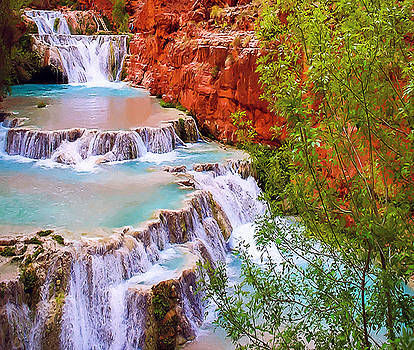 Beaver Falls Grand Canyon Painting by Dr Bob Johnston
