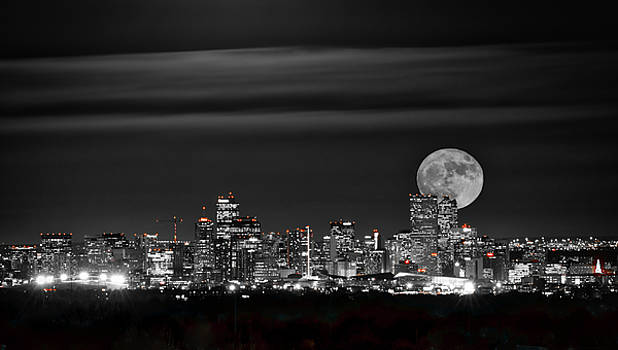 Beaver Moonrise in B and W by Kristal Kraft