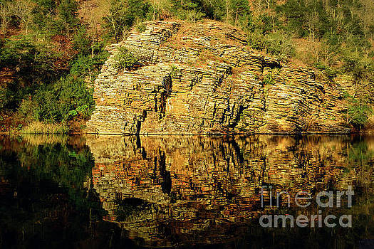 Beaver's Bend Rock Wall Reflection by Tamyra Ayles