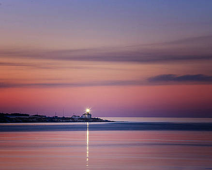 Beavertail Lighthouse in Pink and Purple by Vicki Jauron