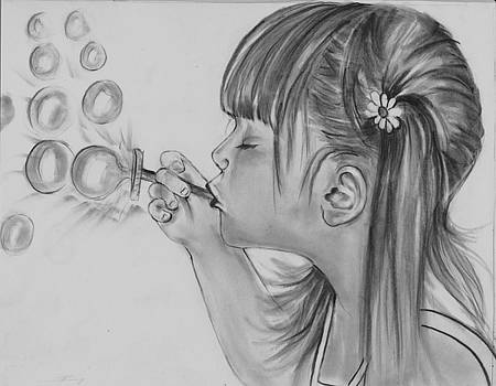 Becky Blowing Bubbles by Barb Baker