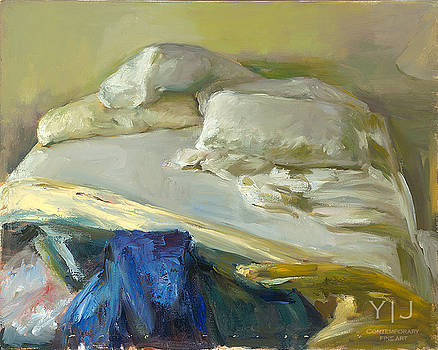 Bed with Blue and Yellow Blankets by Marc Whitney