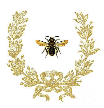 Bee in acorn wreath by Wendy Paula Patterson