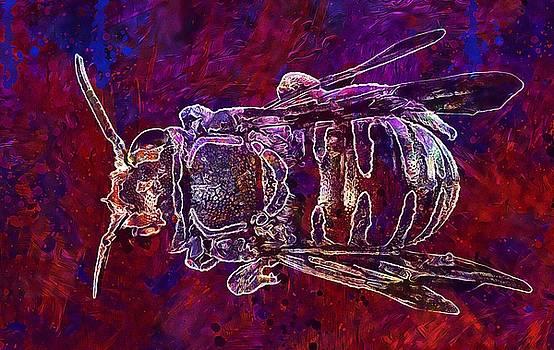 Bee Macro Insect Back  by PixBreak Art