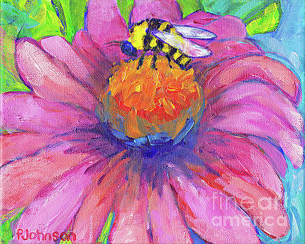 Peggy Johnson - Bee on Coneflower by Peggy Johnson