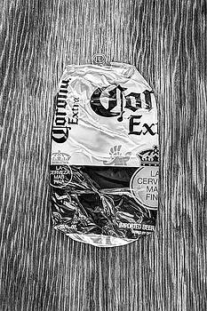 Beer Can Extra Blue Crushed on Plywood 81 in BW by YoPedro