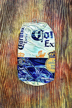 Beer Can Extra Blue Crushed on Plywood 81 by YoPedro