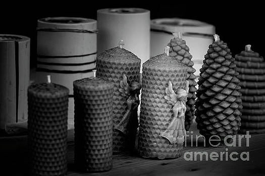Beeswax Candles with Angels and Pinecones by Colin Cuthbert