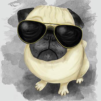 Pug with Sunglasses by Atelier B Art Studio