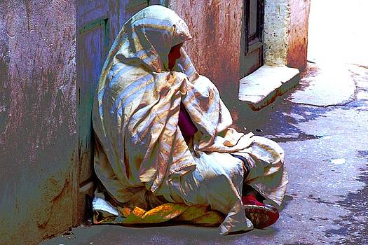 Beggar woman of Tunis Old City  by Bill Vernon