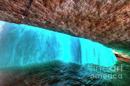 Behind the Falls Minnehaha Falls Minneapolis Minnesota Winter Morning by Wayne Moran
