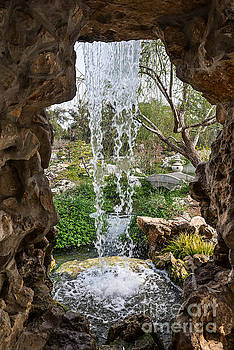 Jamie Pham - Behind the waterfall at the Chinese Garden in the Huntington Lib
