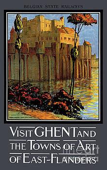 Belgium Ghent Vintage Travel Poster Restored by Carsten Reisinger