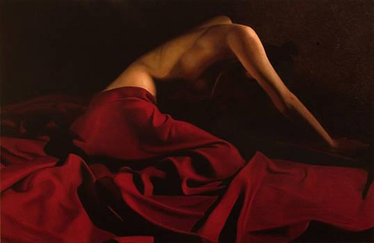 Belinda red drape II by Toby Boothman