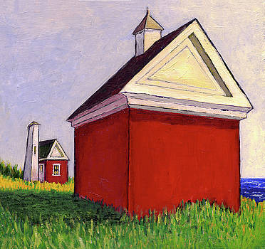 Bell and Oil house, Pemaquid light, Maine, Acrylic on Campus 13x by Dave Higgins