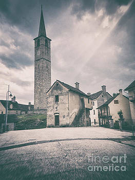 Bell tower in Italian village by Silvia Ganora
