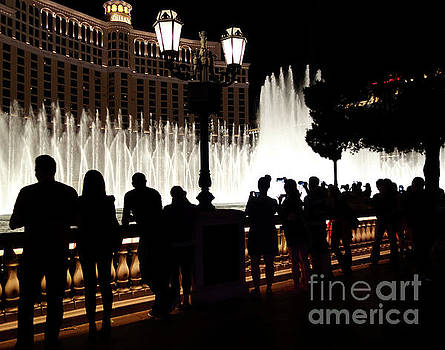 Bellagio fountain silhouettes  by Maria Janicki