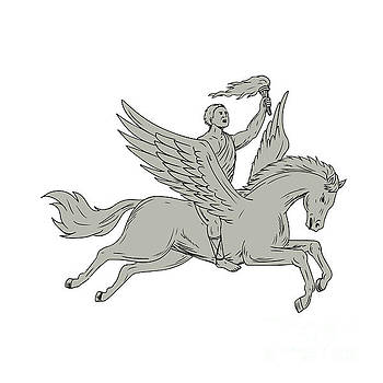 Bellerophon Riding Pegasus Holding Torch Drawing by Aloysius Patrimonio