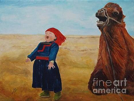 Belly Laugh With Camel by Frankie Picasso