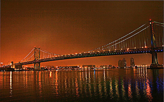 Ben Franklin Bridge at Night by Donna Reid