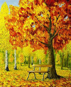 Bench under the maple tree by Veikko Suikkanen