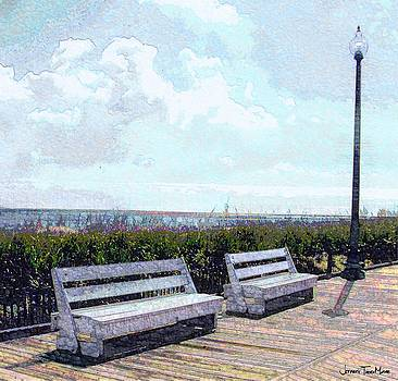 Jeffrey Todd Moore - Benches Boardwalk and Lamppost 1