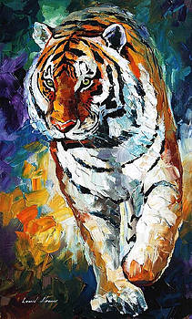 Bengal Tiger - PALETTE KNIFE Oil Painting On Canvas By Leonid Afremov by Leonid Afremov