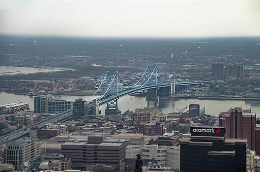 Benjamin Franklin Bridge from Above - Philadelphia by Bill Cannon