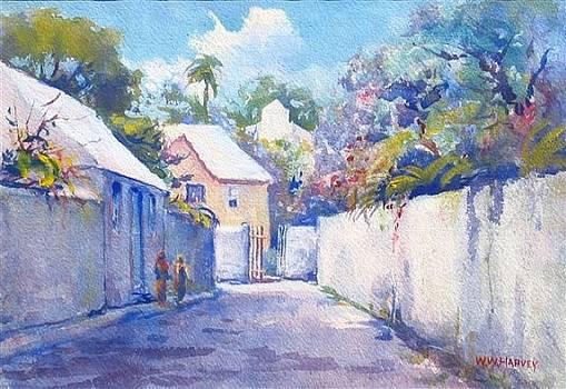 Bermuda Street Scene with Two Figures by WW Harvey