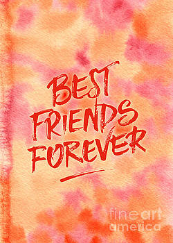 Beverly Claire Kaiya - Best Friends Forever Handpainted Abstract Watercolor Pink Orange