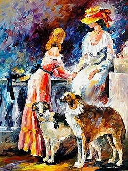 Best Friends - PALETTE KNIFE Oil Painting On Canvas By Leonid Afremov by Leonid Afremov