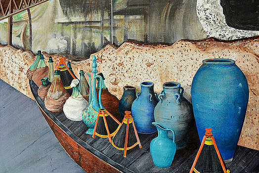 Vintage pottery and glass containers by Hadi Aghaee