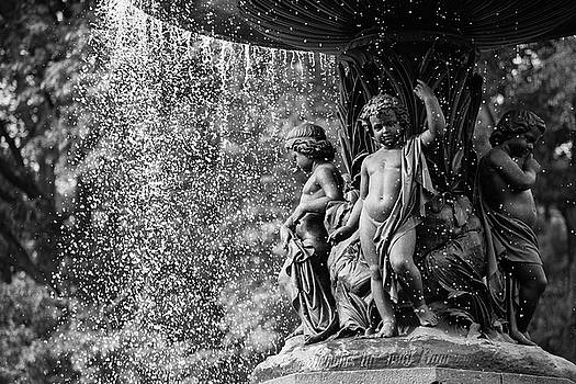 Bethesda Fountain Fragment BW by Zina Zinchik