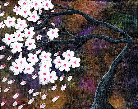 Bent Abstract Tree with White Cherry Blossoms by Tara Cordero