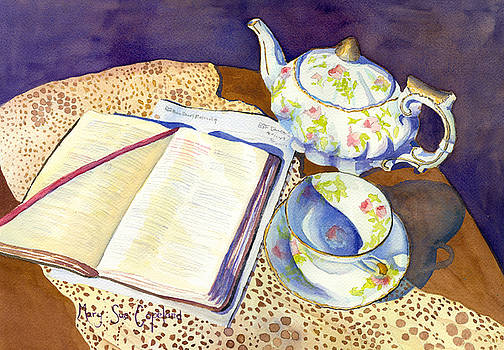 Bible, Tea Pot and Lesson  by Mary Sue Copeland
